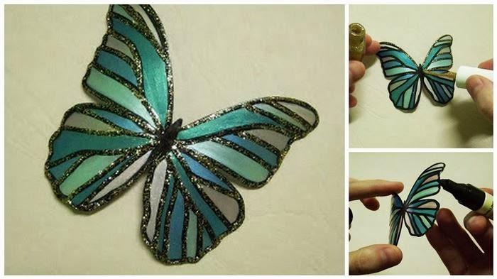 Hermosa mariposa hecha con botella de pet manualidades - Manualidades de reciclaje faciles paso a paso ...