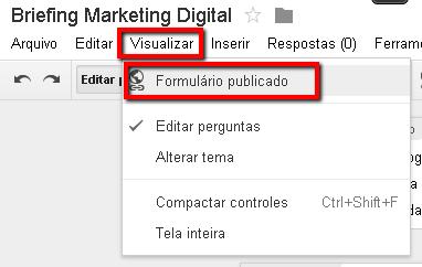 Visualizar formulário publicado no Google Docs