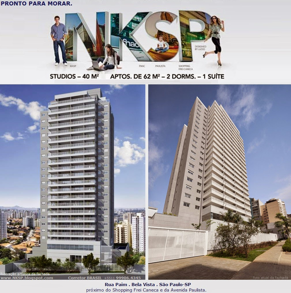 NKSP - Apartamentos de 1 e 2 dorms., 40 e 62m² na Rua Paim, Bela Vista, São Paulo-SP-BR