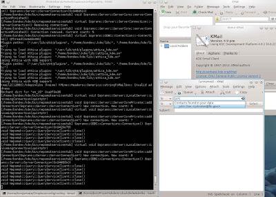 Screenshot showing KMail addressline completion working.