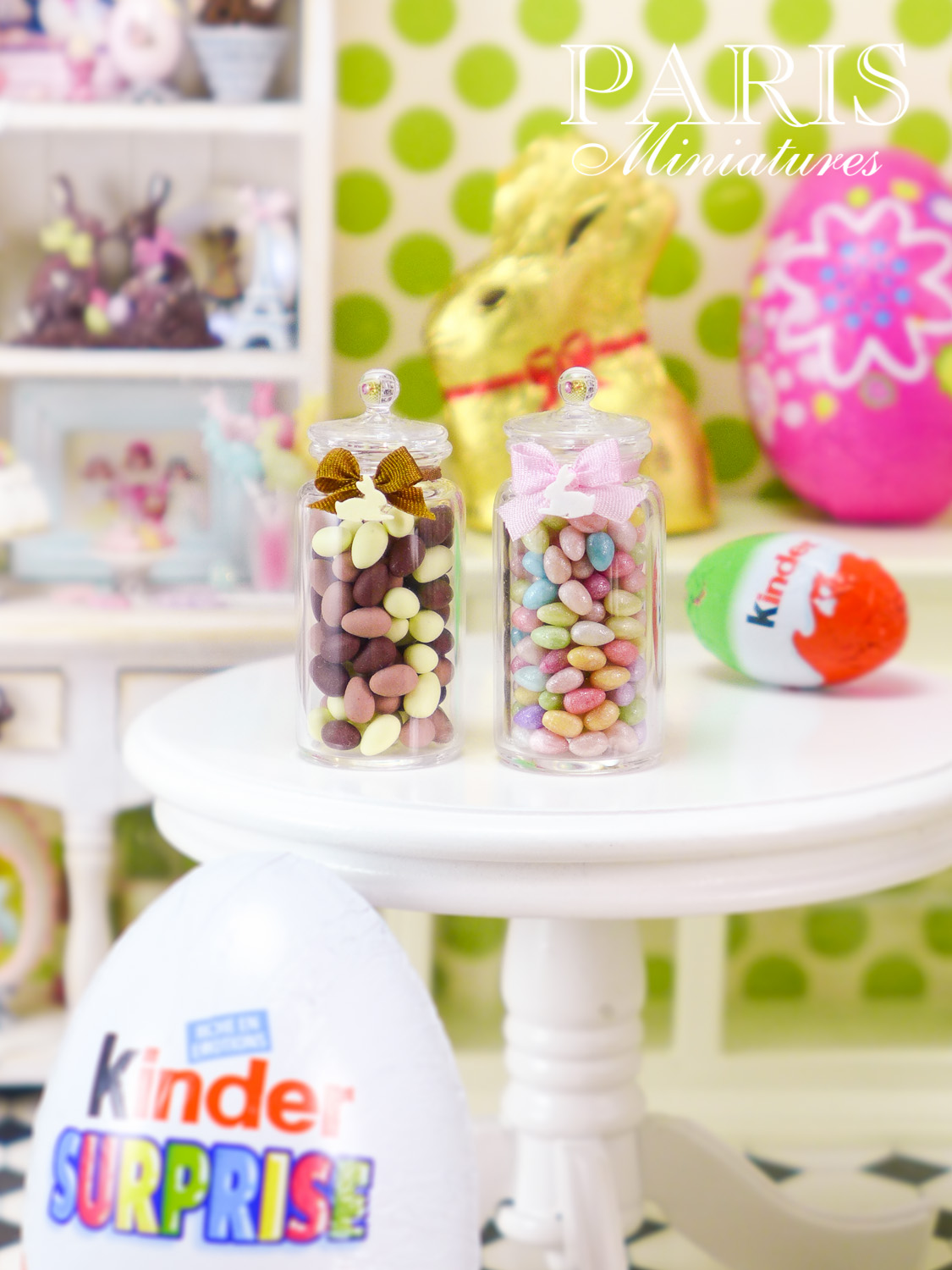 Kinder eggs, Lindt chocolate bunny shown with miniature easter eggs