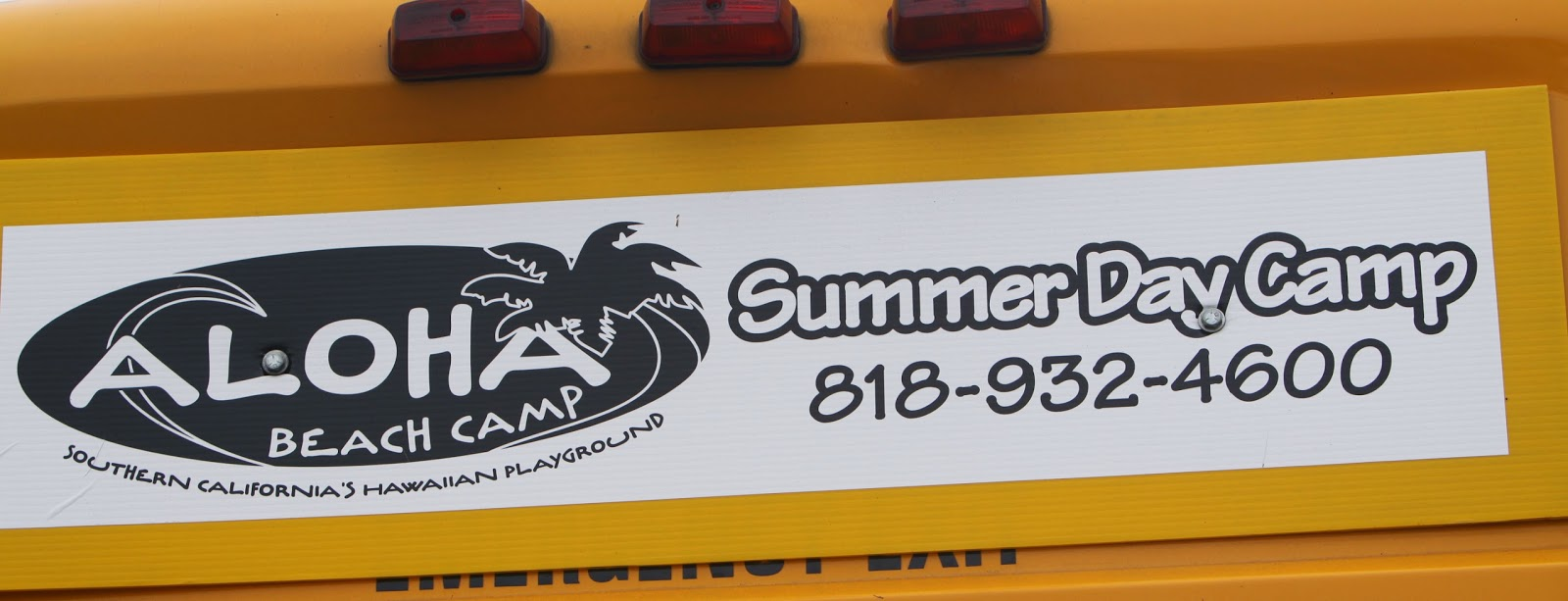 Aloha Beach Camp Summer Camp Bus Sign with Logo and Phone Number