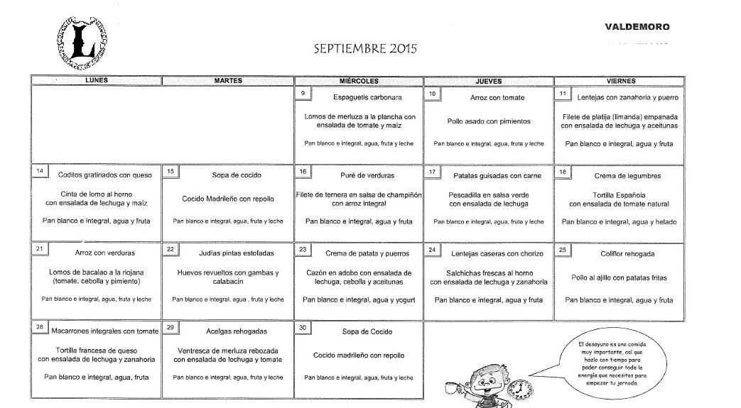 Las cosas del lerena men comedor escolar septiembre 2015 for Cosas del comedor