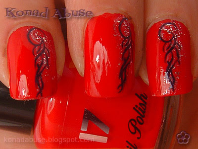 Boots Fast Finish Knockout Red and Chez Delaney T31 Tribal Nails
