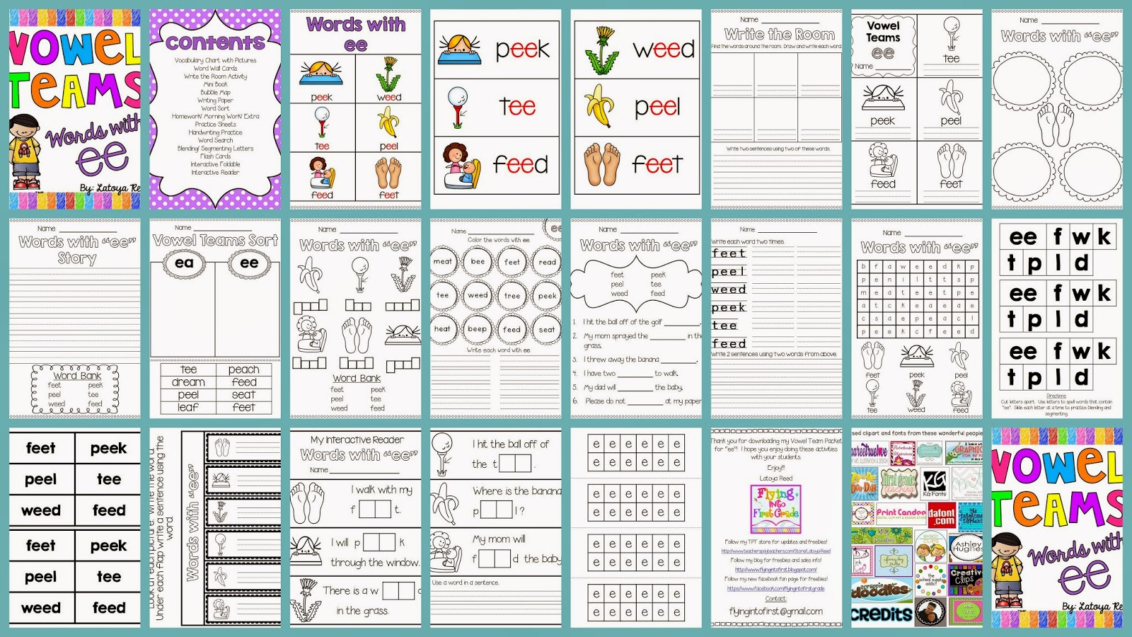 http://www.teacherspayteachers.com/Product/EE-Vowel-Team-Print-and-Go-Printables-1181444