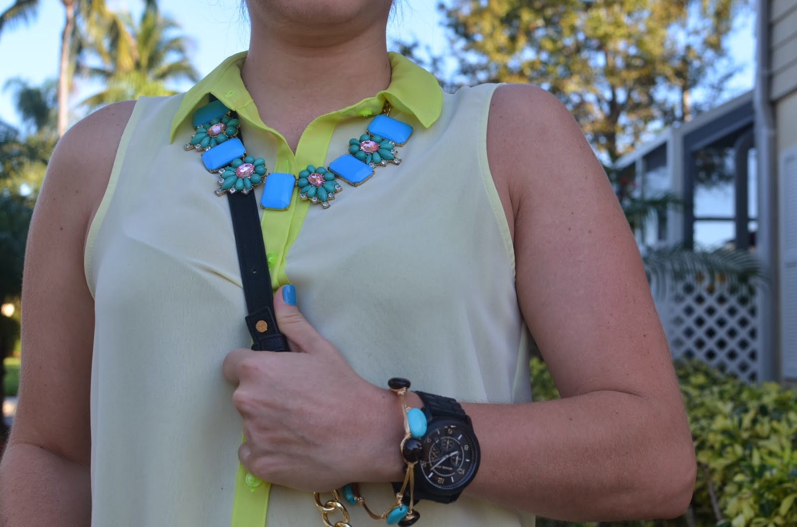 Neon top Black watch Statement necklace