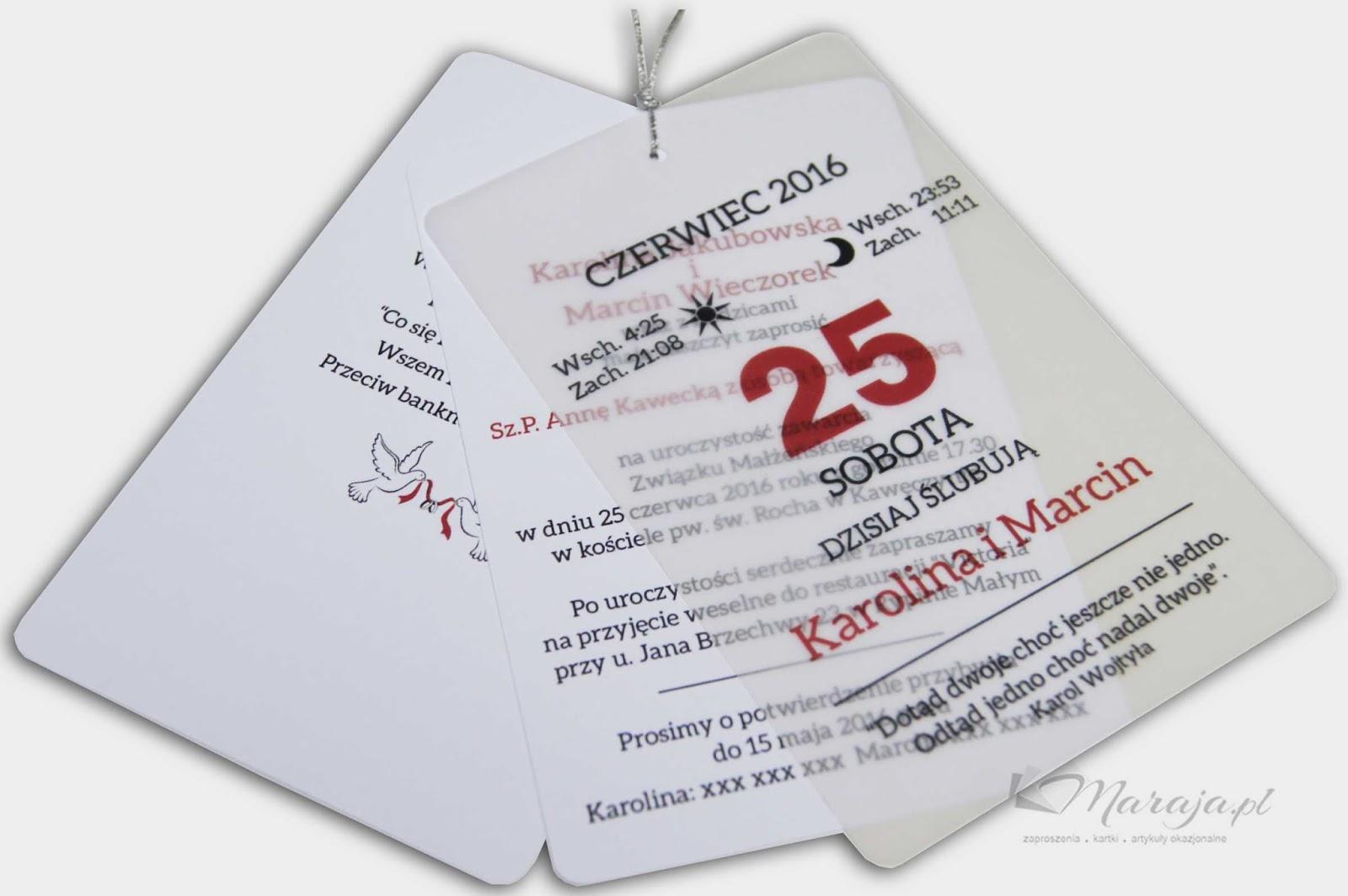 Moje Papierowe Co Nieco Zaproszenia ślubne Kartki Z Kalendarza Cd