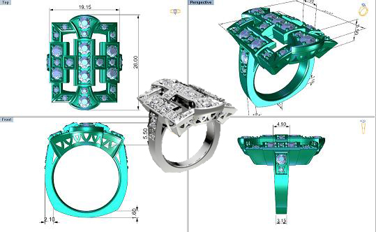 Aesera Diamonds JEWELLERY 3D MODELING CHENNAI RHINO GOLD DIAMOND
