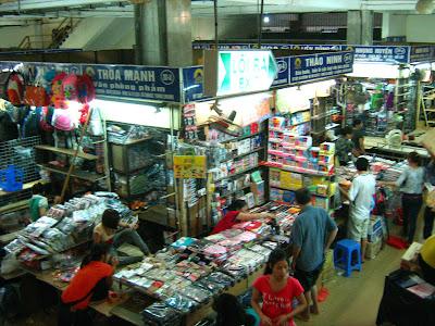 Interior Dong Xuan market in Hanoi