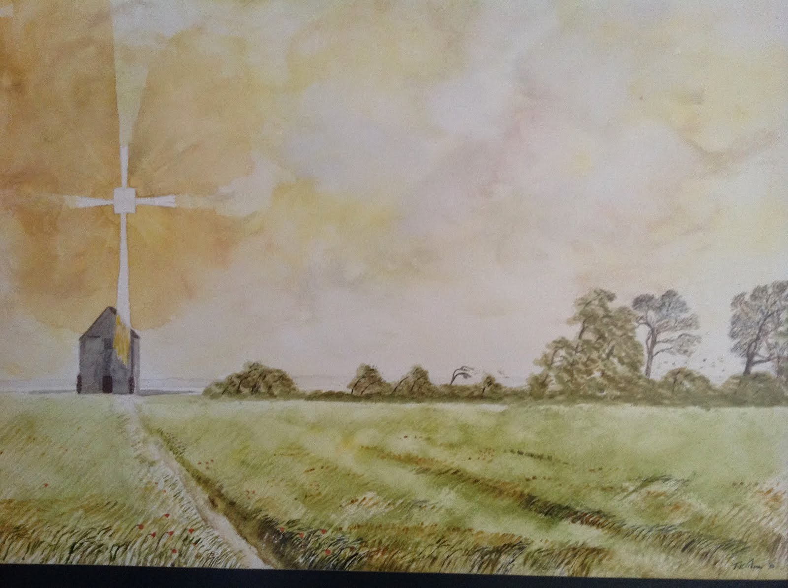 St Peter-on-the-Wall,Bradwell 7th Century Chapel of Saint Cedd (Watercolour)