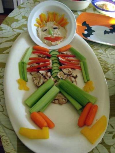 Sundt halloween skelet af grønsager