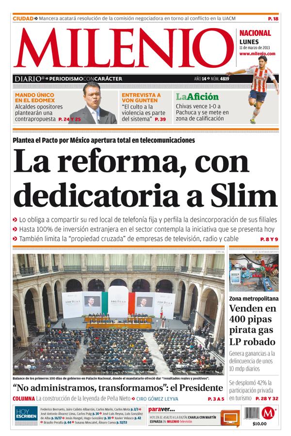 Milenio Diario: Dedicada a Slim, reforma en telecomunicaciones