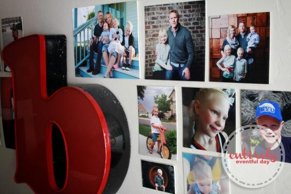 How to create a kid-friendly (non-fragile) gallery wall. #gallerywall #playroom www.entirelyeventfulday.com