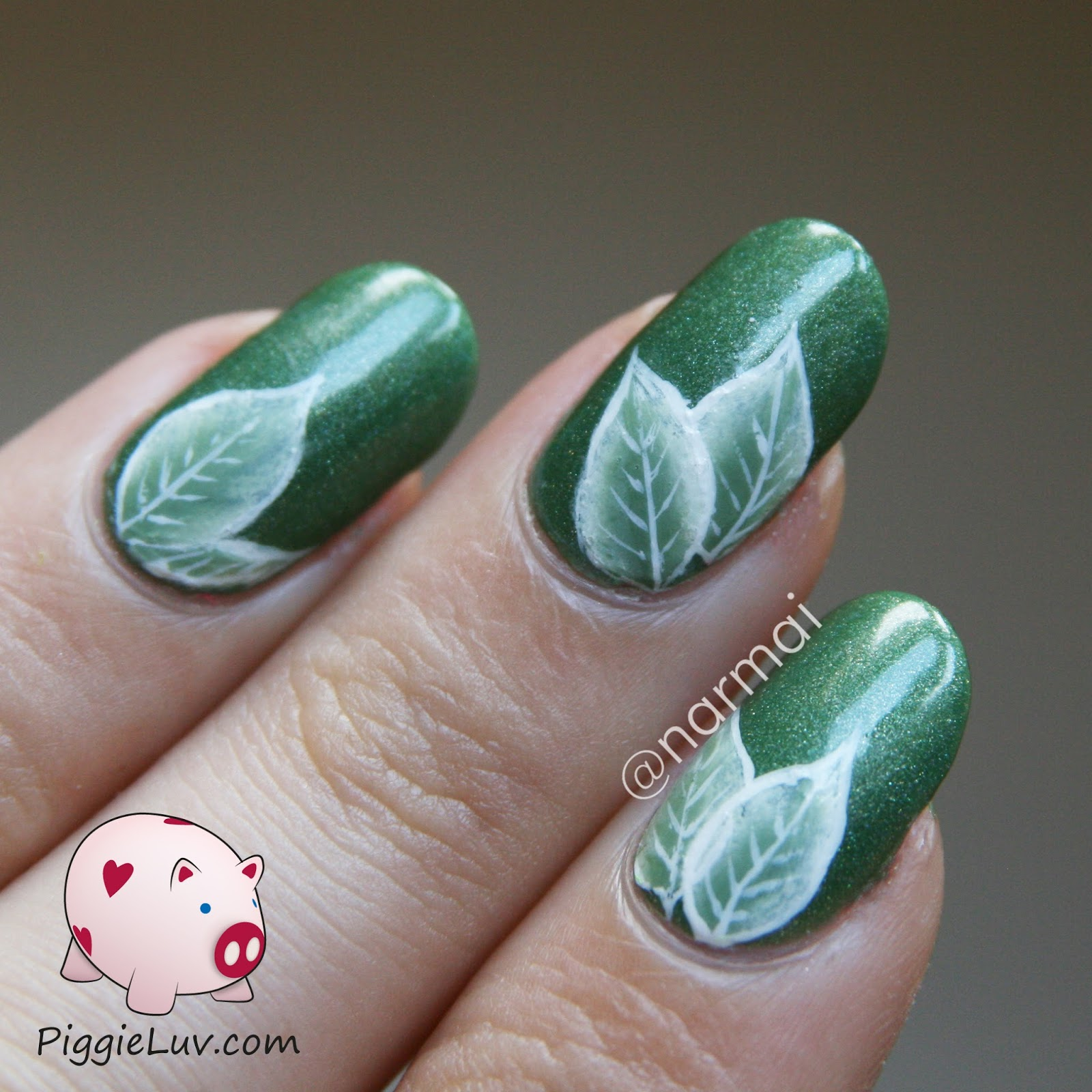 Piggieluv 2014 green one stroke leaves nail art video tutorial solutioingenieria Images