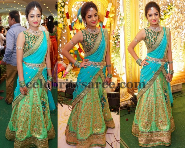 Gorgeous Girl Mirror Work Half Sari