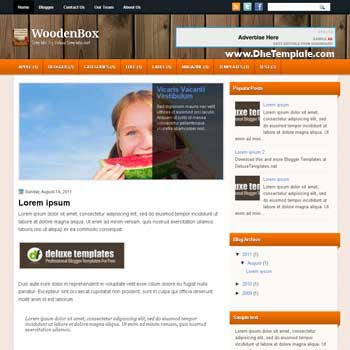 WoodenBox blogger template. 2 column blogspot template