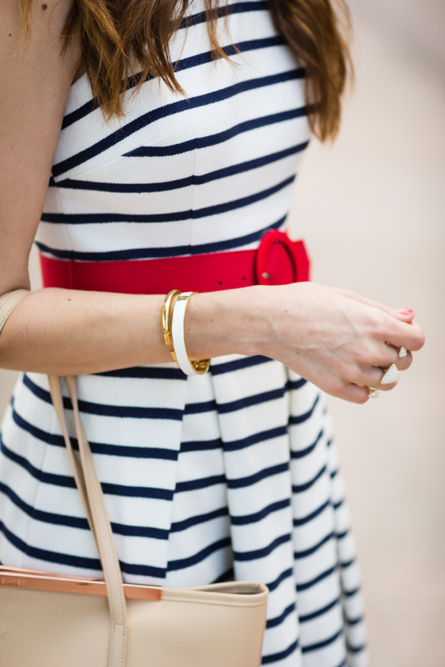 blue and white striped dress from eliza j with red belt and nude tote M Loves M @marmar