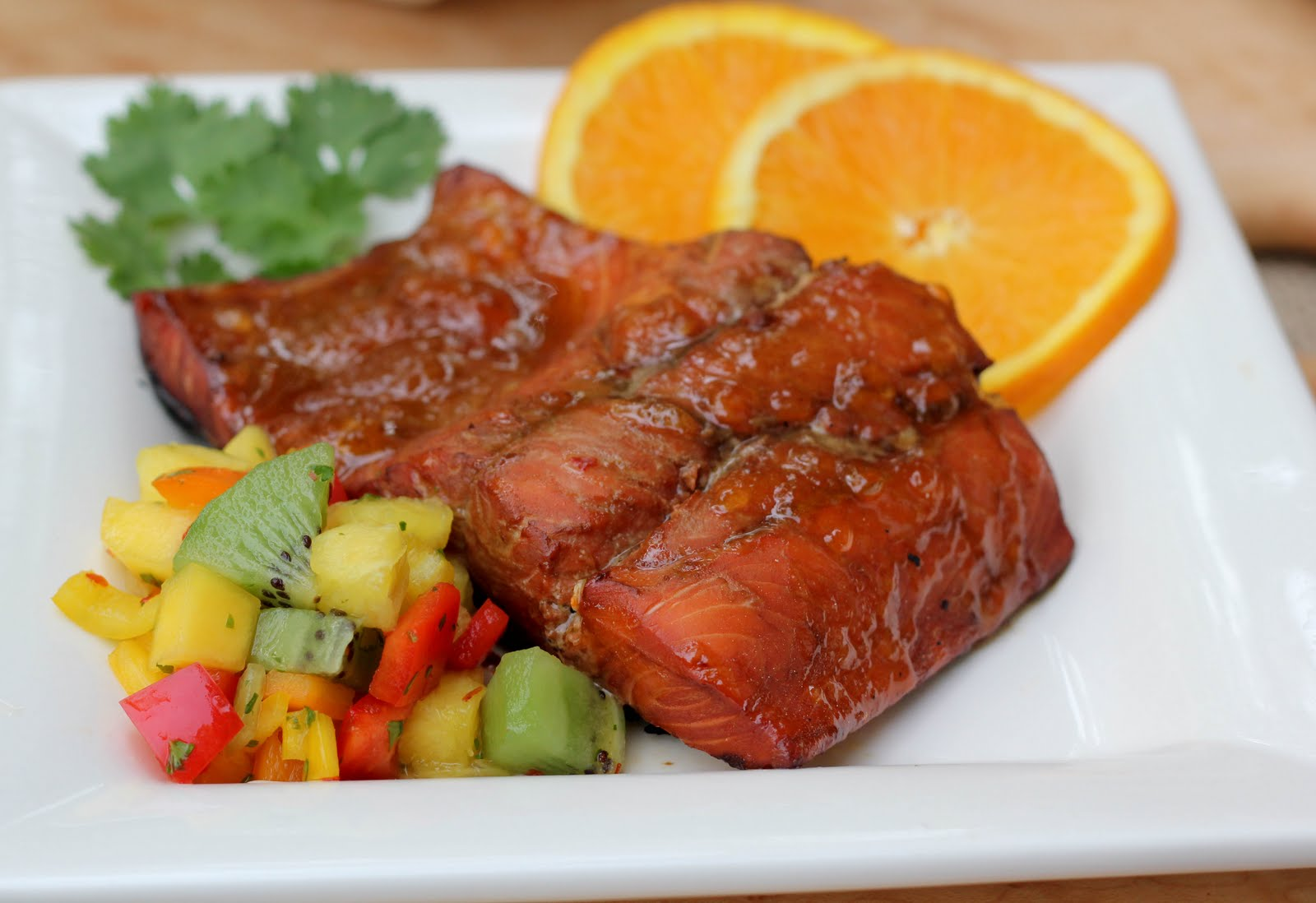 Glazed Salmon with Fruit Salsa - That Skinny Chick Can Bake