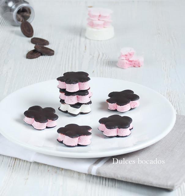 Nubes caseras con chocolate - Dulces bocados