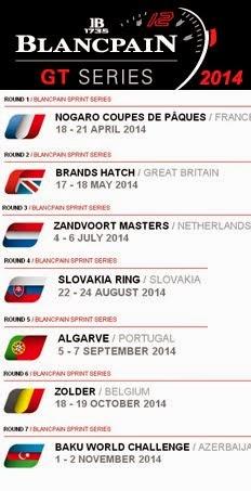 FIA GT SERIES - Calendário
