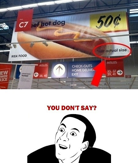 Hot Dog - Not Actual Size - You Don't Say?!