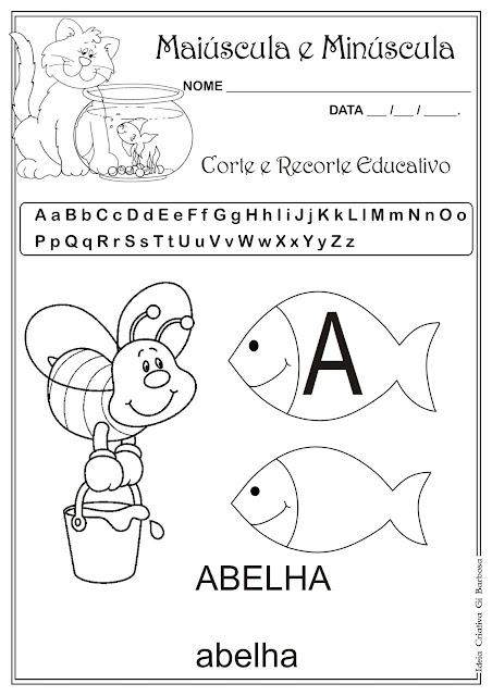 Atividade Letra Maiúscula e Minúscula Corte e Recorte Educativo