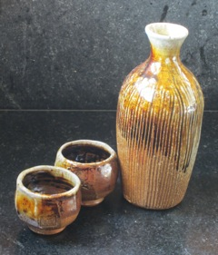 Sake Set wood-fired with Dark Horse Pottery