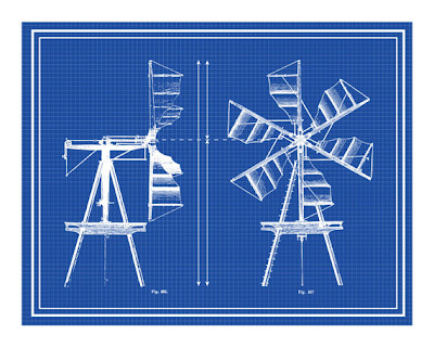 windmill blueprint poster