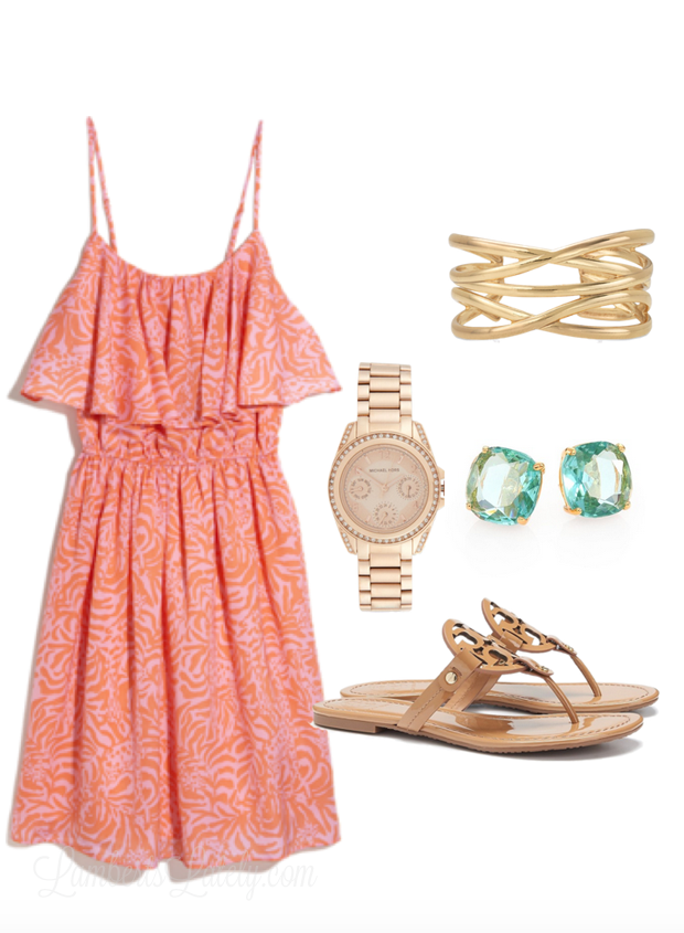 Spring and Summer Outfit Idea...Lilly Pulitzer Dress, Cuff, Rose Gold Watch, Turquoise Earrings, Sandals