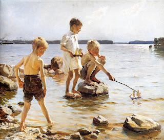 Boys Playing on the Shore de Albert Edelfelt, Albert Edelfelt, Boys, Shore, Beach,
