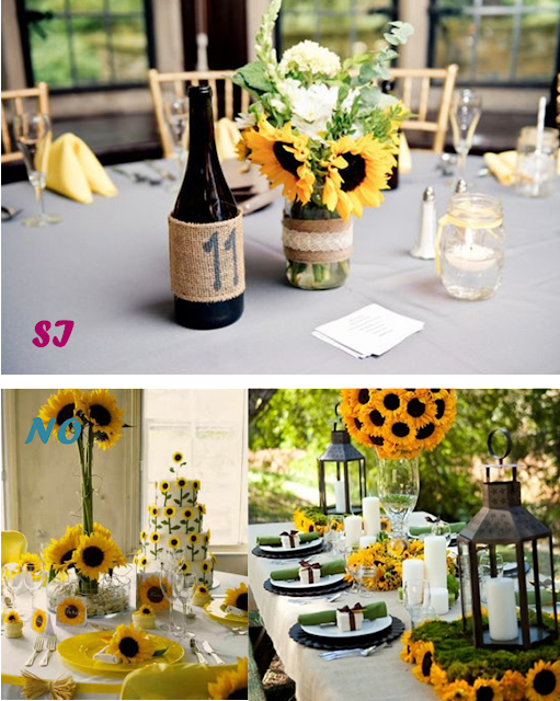 Decoración de boda con girasoles