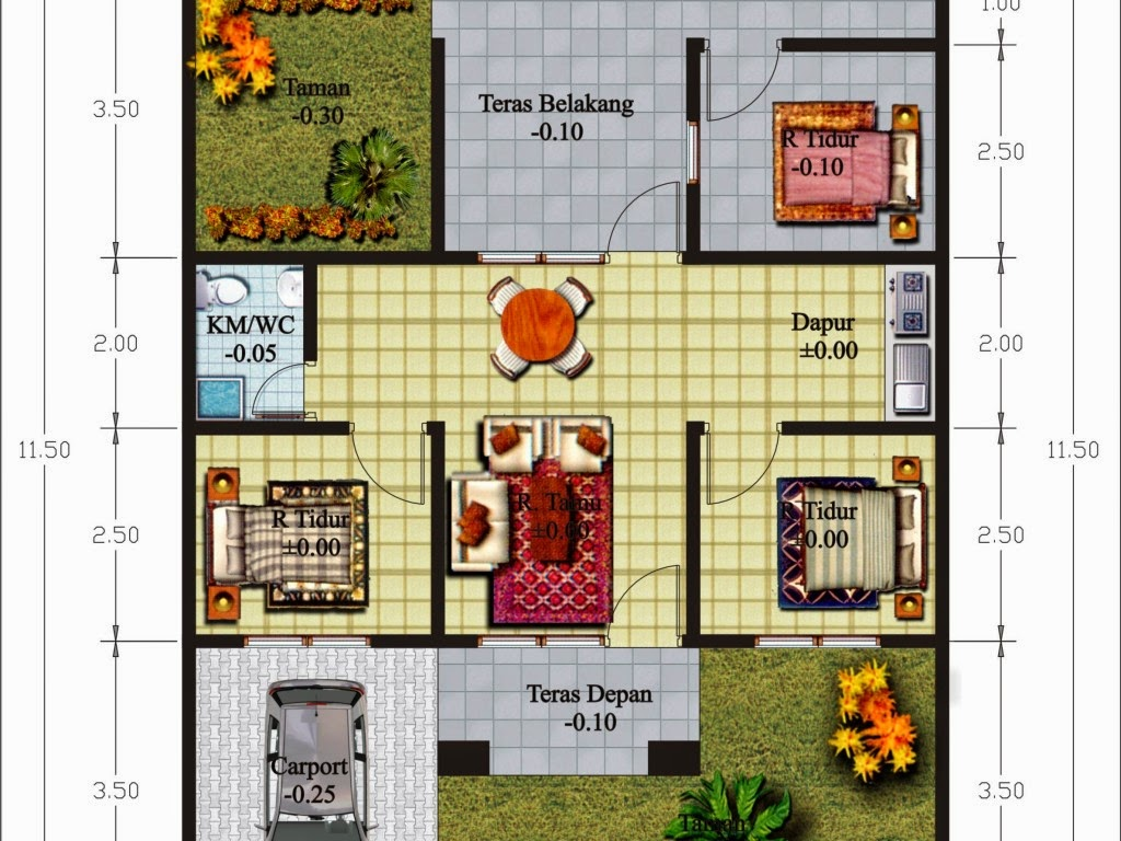 Rumah minimalis 3 kamar 3