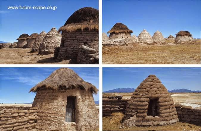 Conjunto de putucus en el Altiplano boliviano