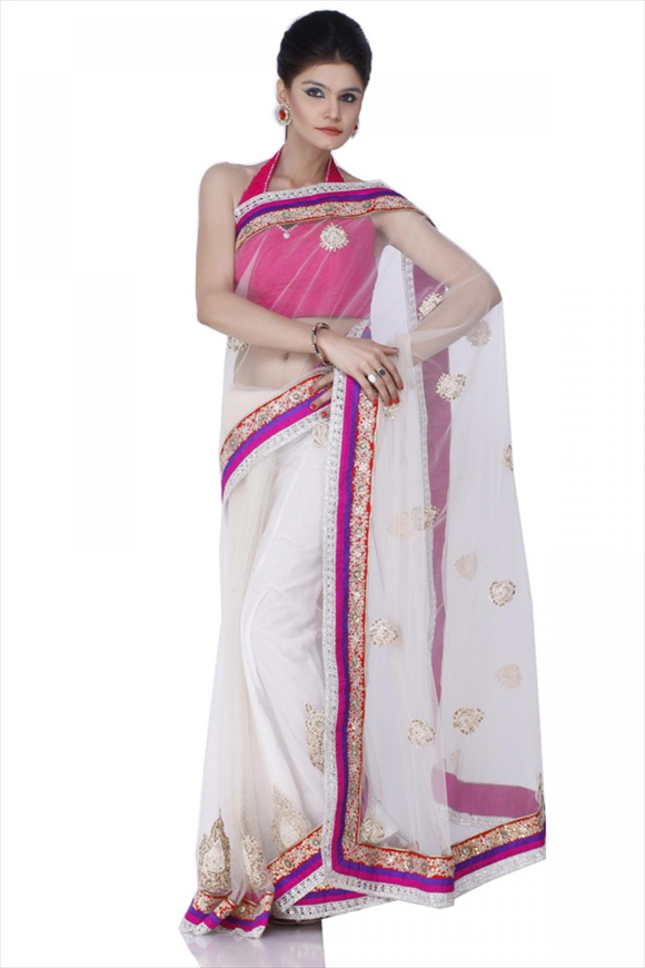 indian Pearl White Net Saree