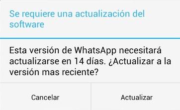 mensaje actualizacion whatsapp