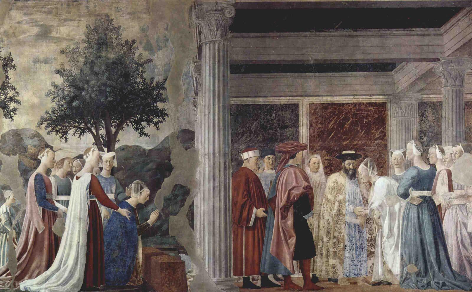 『ソロモン王を訪れるシバの女王』中央の柱を境に左がシバの女王が渡ろうとし... 聖十字架の伝説
