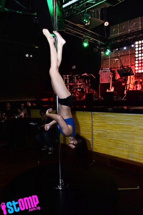Customers were treated to a pole dancing performance.