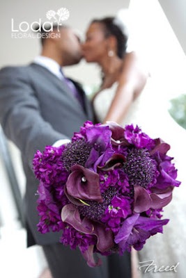 purple calla lilies, purple stock, trachelium, purple bouquet