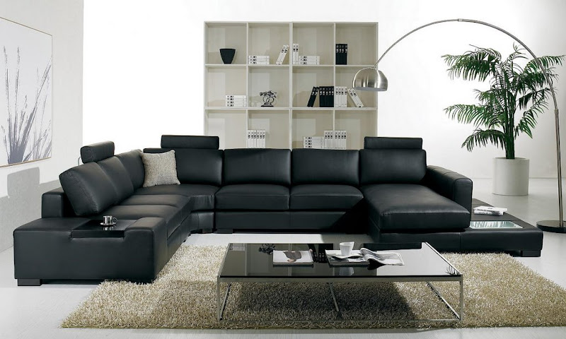 Living Room with Black Leather Sofa