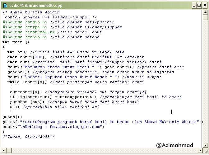 Contoh program sederhana C++, Program Borland C++ konverter huruf.