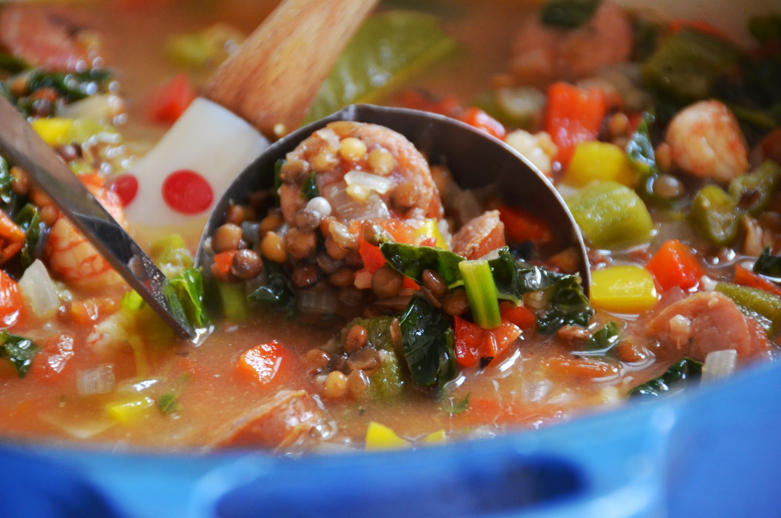 Creole Lentil Soup with Andouille and Shrimp