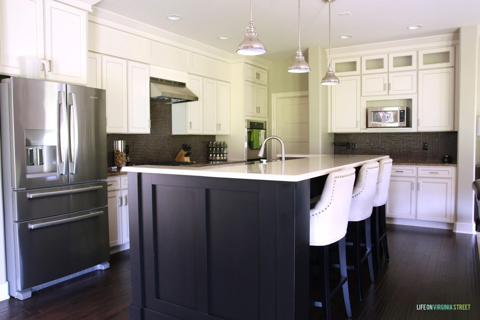Photo tour of our current home life on virginia street for Board and batten kitchen cabinets