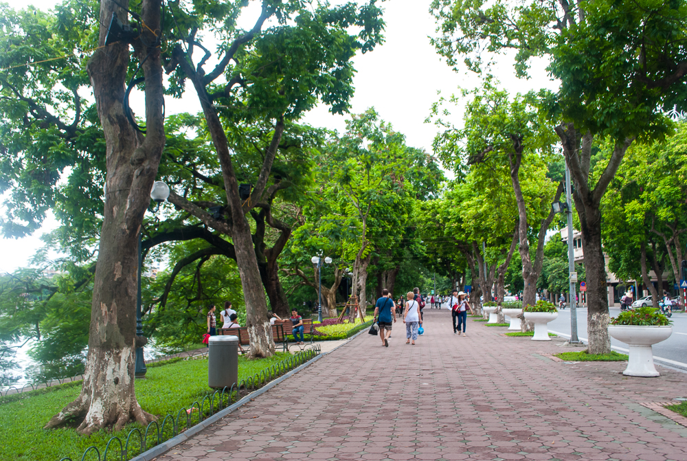 pedestrian walkway by hanoi lake