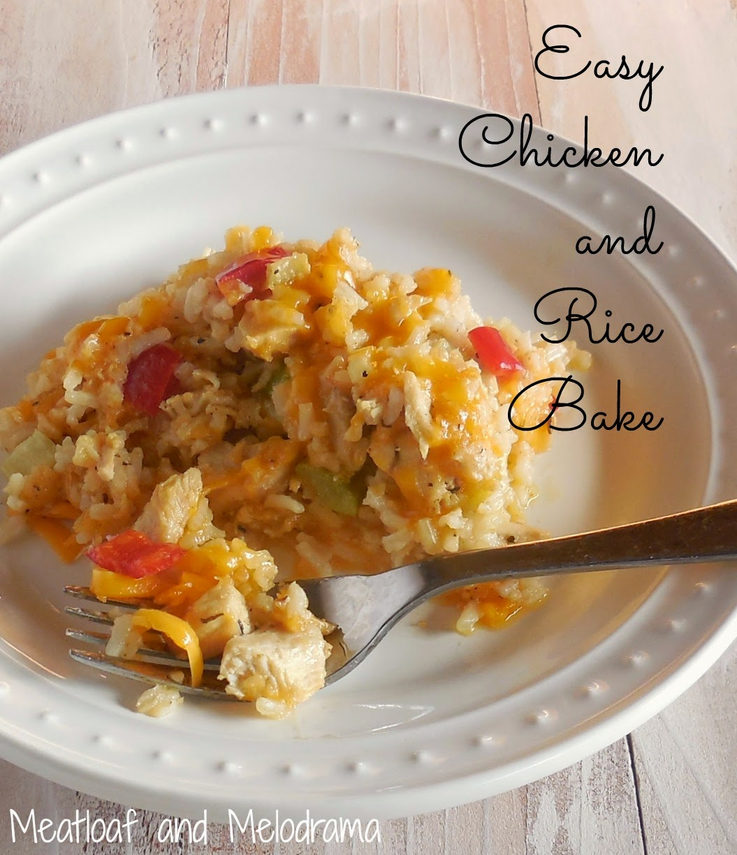 chicken and rice casserole with peppers and cheese on a plate