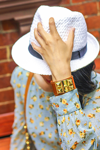 White sun hat fedora with Hermes leather cuff with gold accent