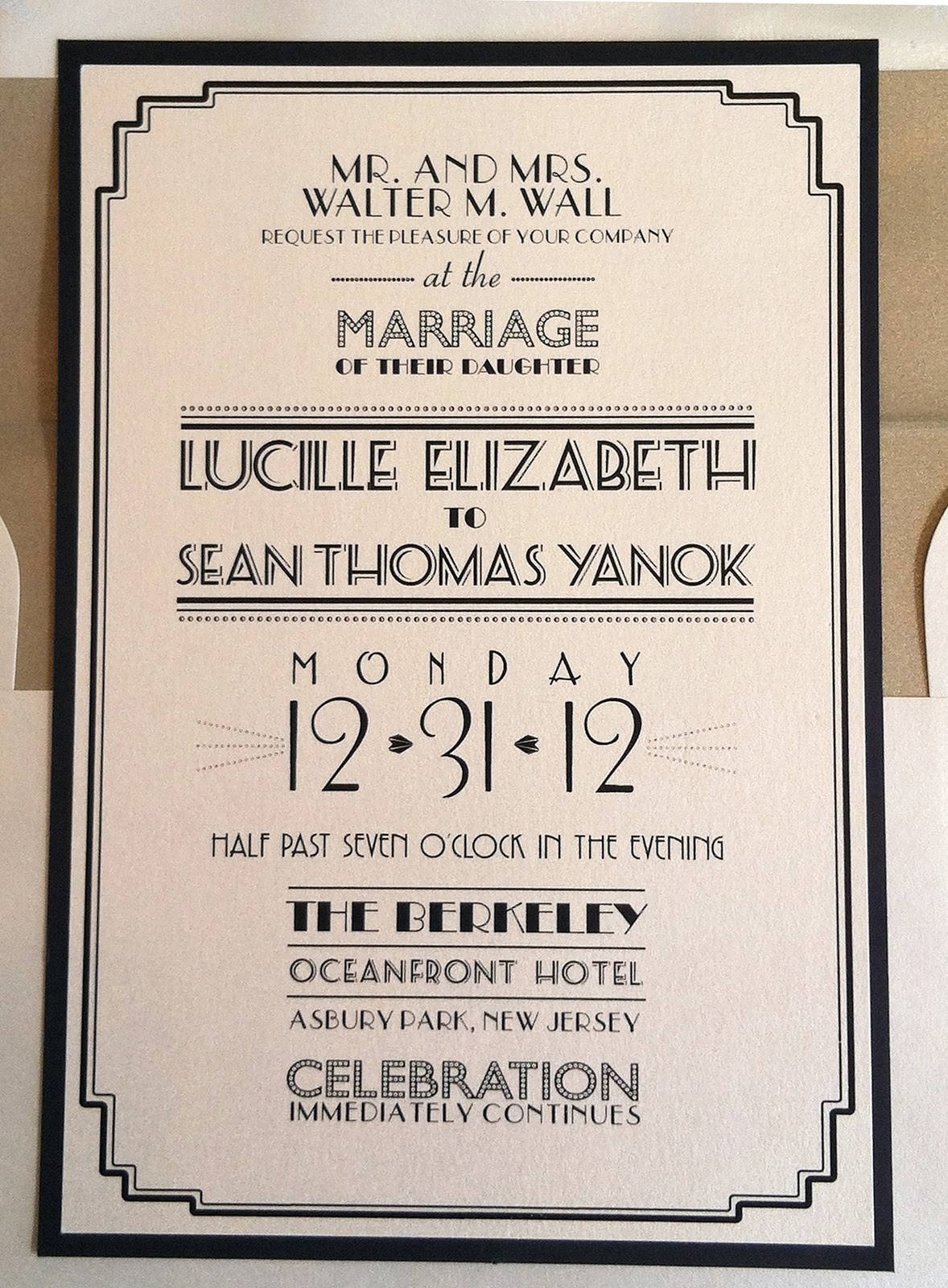New Yearu0027s Eve Art Deco Wedding Invitation