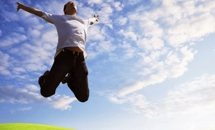 happy man jumping - How Happy Are You? (Quiz) - happines - confident - confidence - self-esteem