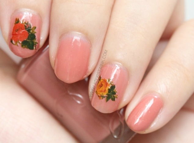 Etude House nail polish BE102 maple syrup with roses water decal