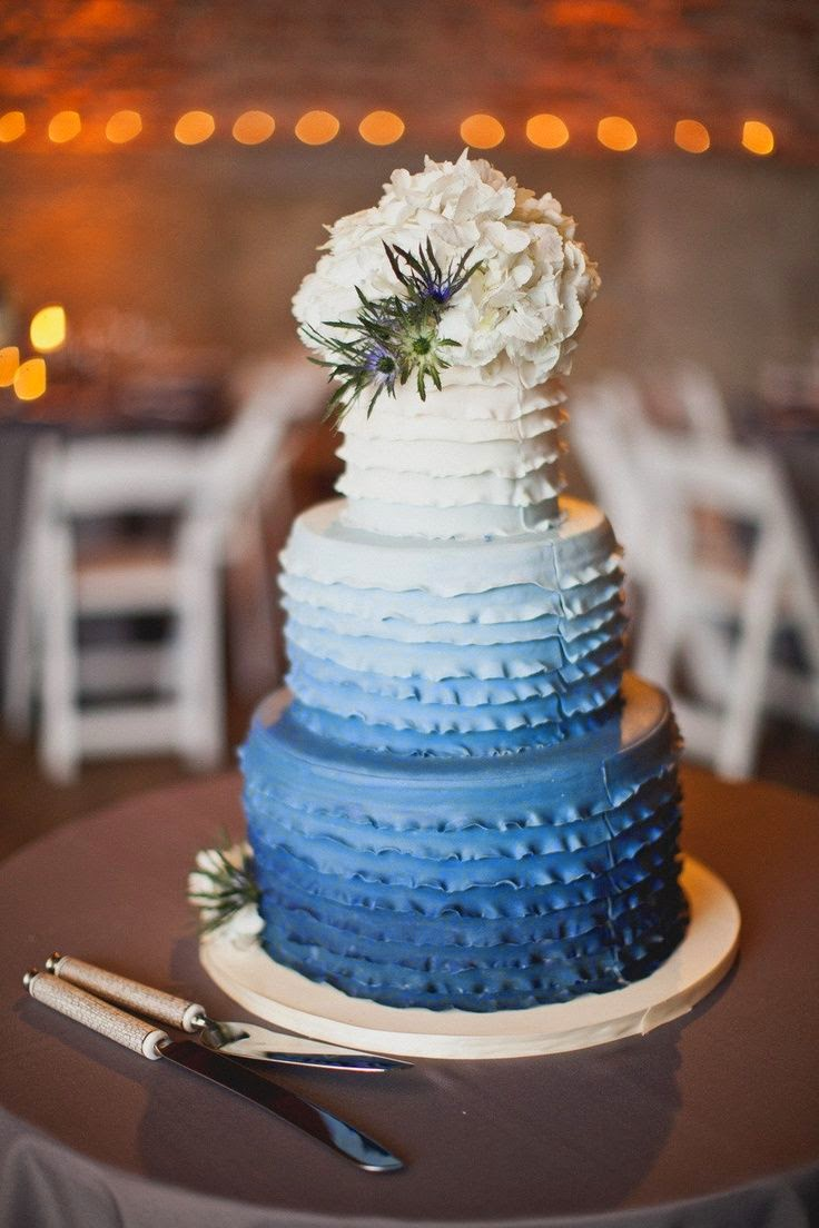 blue ruffled wedding cake