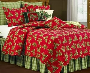 Twin Quilt, Holly Red
